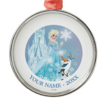 Frozen | Elsa and Olaf - Icy Glow Add Your Name Metal Ornament