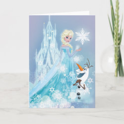 Standard Card with Snow Queen Elsa and Olaf design