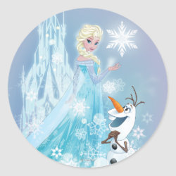 Round Sticker with Snow Queen Elsa and Olaf design