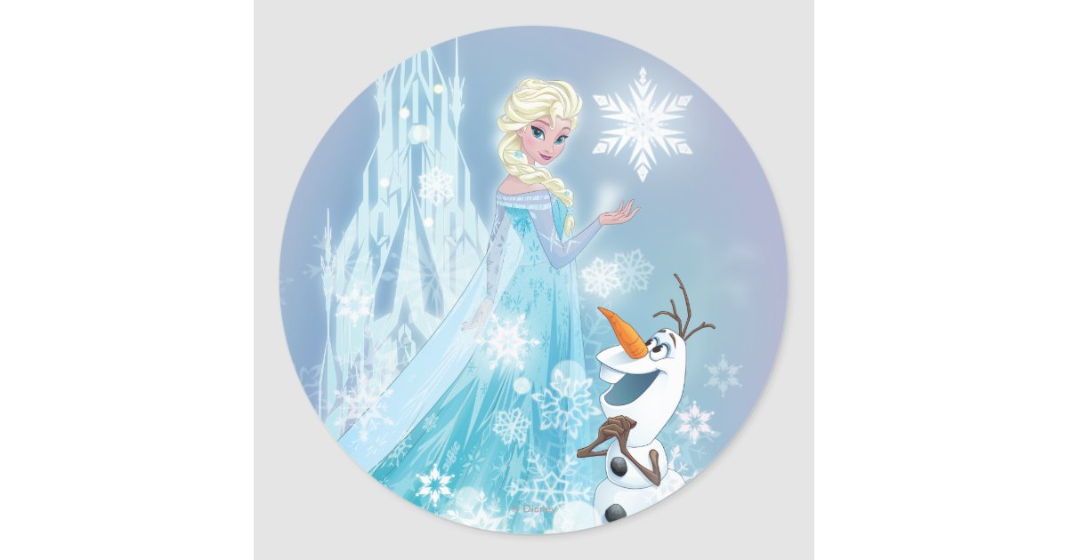 Frozen | Elsa and Olaf - Icy Glow Classic Round Sticker ...