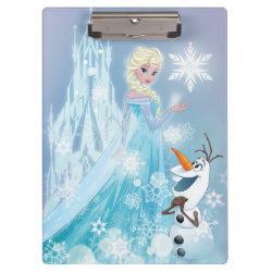 Clipboard with Snow Queen Elsa and Olaf design
