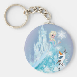 Basic Button Keychain with Snow Queen Elsa and Olaf design