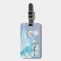Small Luggage Tag with leather strap with Snow Queen Elsa and Olaf design