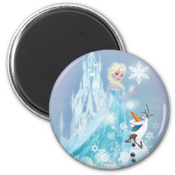 Round Magnet with Snow Queen Elsa and Olaf design