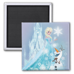 Square Magnet with Snow Queen Elsa and Olaf design