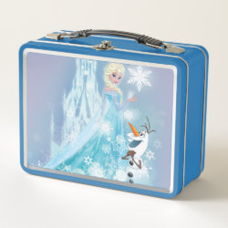 Metal Lunch Box with Snow Queen Elsa and Olaf design