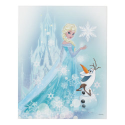 Matte Wall Panel with Snow Queen Elsa and Olaf design