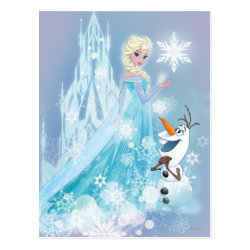 Postcard with Snow Queen Elsa and Olaf design