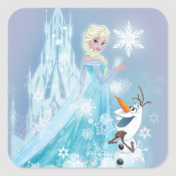 Square Sticker with Snow Queen Elsa and Olaf design