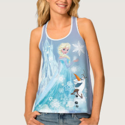 Women's All-Over Print Racerback Tank Top with Snow Queen Elsa and Olaf design