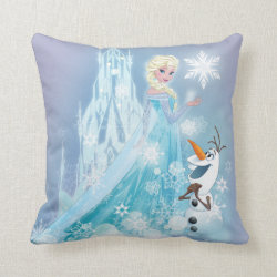 Cotton Throw Pillow with Snow Queen Elsa and Olaf design