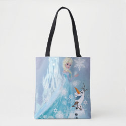 All-Over-Print Tote Bag, Medium with Snow Queen Elsa and Olaf design