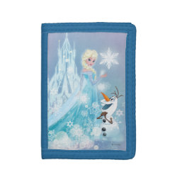 TriFold Nylon Wallet with Snow Queen Elsa and Olaf design