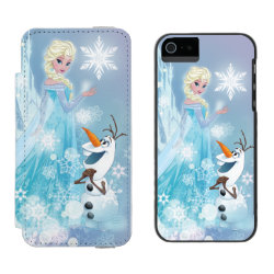 Incipio Watson™ iPhone 5/5s Wallet Case with Snow Queen Elsa and Olaf design