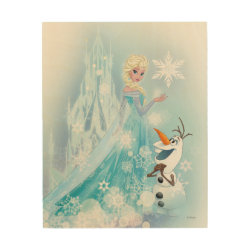 Frozen | Elsa and Olaf - Icy Glow Wood Wall Art