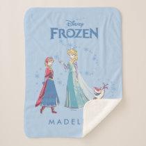 Frozen | Elsa, Anna & Olaf | Name Sherpa Blanket