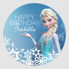 Frozen Elsa Birthday Classic Round Sticker at Zazzle