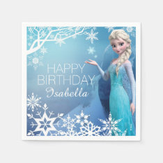 Frozen Elsa Birthday Paper Napkin at Zazzle