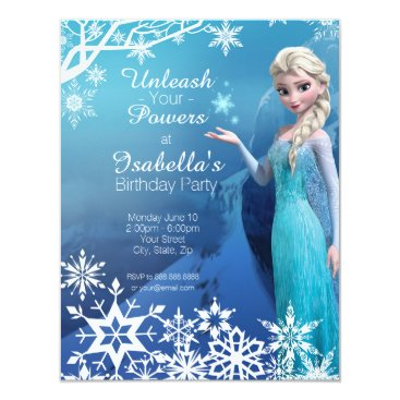 Beach Themed Frozen Elsa Birthday Party Invitation