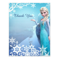 Frozen Elsa Birthday Party Thank You Card