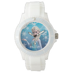 Women's Sporty White Silicon Watch with Frozen's Princess Elsa of Arendelle design