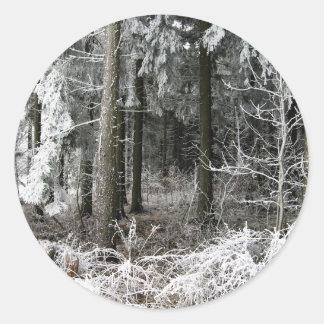 frozen forest classic round sticker