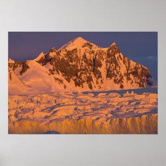 frozen glacial mountain landscape along the print