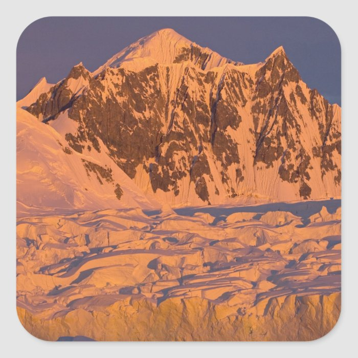 frozen glacial mountain landscape along the square sticker