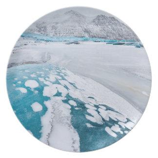 Frozen glacier ice, Iceland Melamine Plate