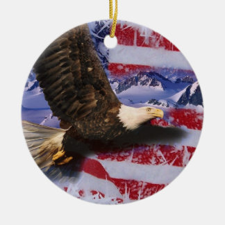 Frozen Glory, Eagle & American Flag Double-Sided Ceramic Round Christmas Ornament