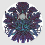 Frozen Green Man God of Leaves Round Stickers