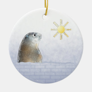 Frozen Groundhog Ceramic Ornament