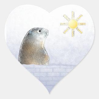Frozen Groundhog Heart Sticker