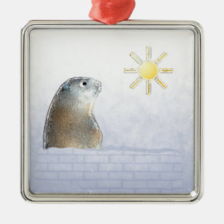 Frozen Groundhog Metal Ornament