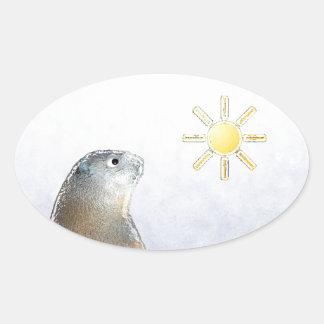Frozen Groundhog Oval Sticker