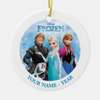 Frozen Group Personalized Double-Sided Ceramic Round Christmas Ornament
