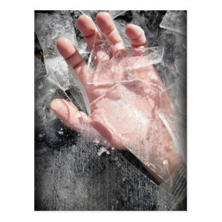 Frozen hand design postcard
