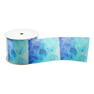 Frozen ice blue white abstract drip paint art chic blank ribbon