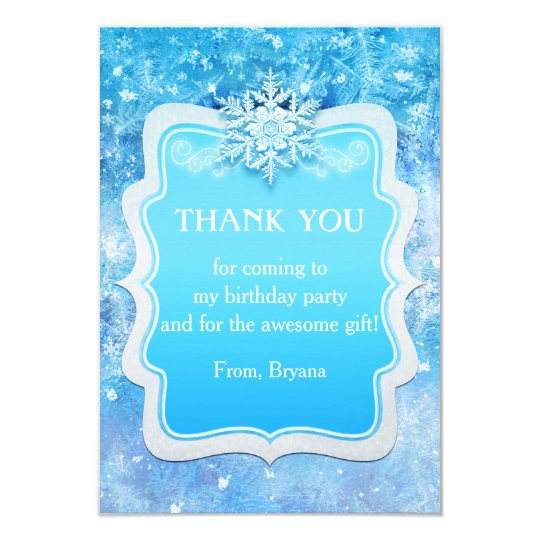 Frozen Ice Winter Wonderland Party Thank You Card Zazzle Com