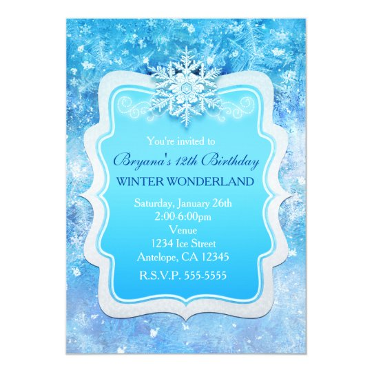 frozen ice winter wonderland snowflake invitations zazzle com