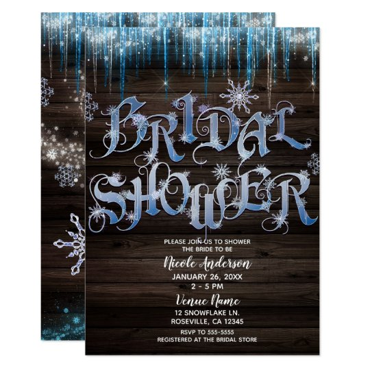 frozen icicles winter wonderland bridal shower invitation