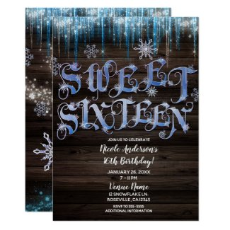 Frozen Icicles Winter Wonderland Sweet 16 Sixteen Invitation
