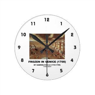 Frozen In Venice (1708) by Gabriele Bella Round Clock