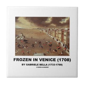 Frozen In Venice (1708) by Gabriele Bella Small Square Tile