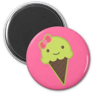 Frozen Kawaii in a Cone 2 Inch Round Magnet