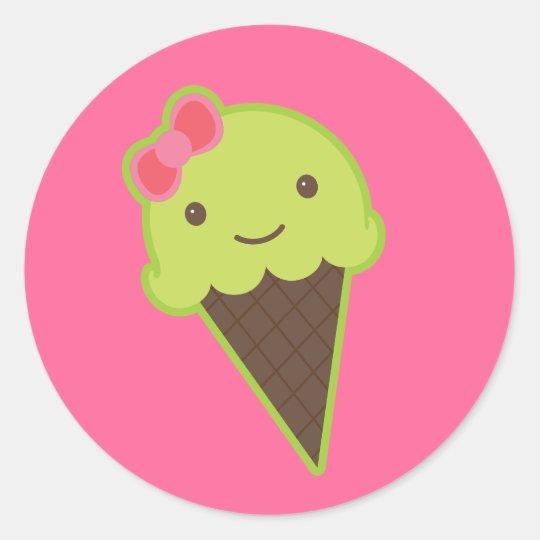 Frozen Kawaii in a Cone Classic Round Sticker