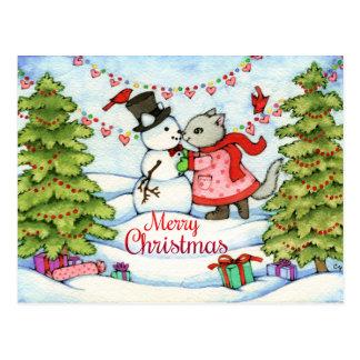 Frozen Kiss - Cute Christmas Cat Art Postcard