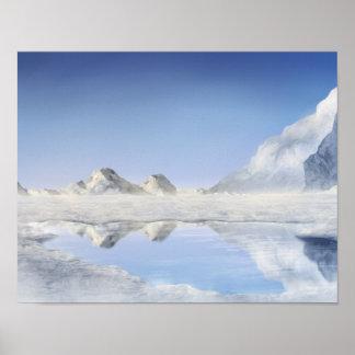 Frozen Lake - 11x14 Digital Painting Poster Print