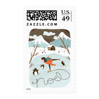 Frozen Lake Holiday Postage