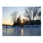 Frozen Lake Sunset Postcard